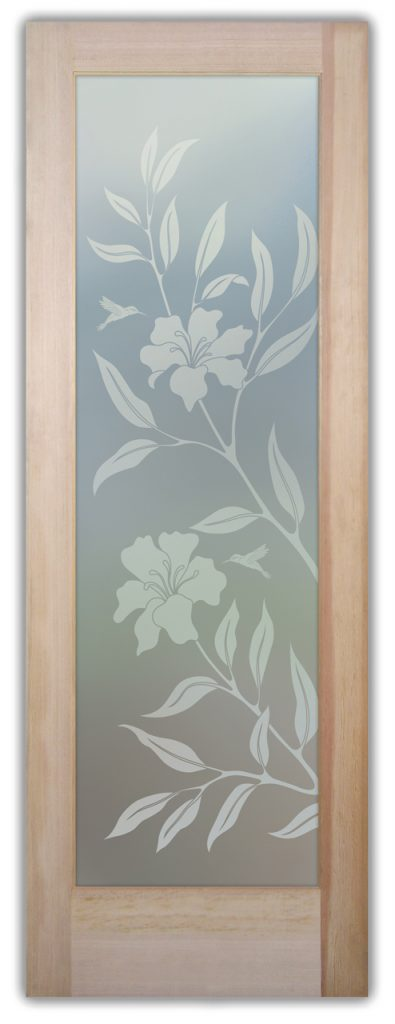 Hibiscus Hummingbirds 1D Private Etched Glass Doors