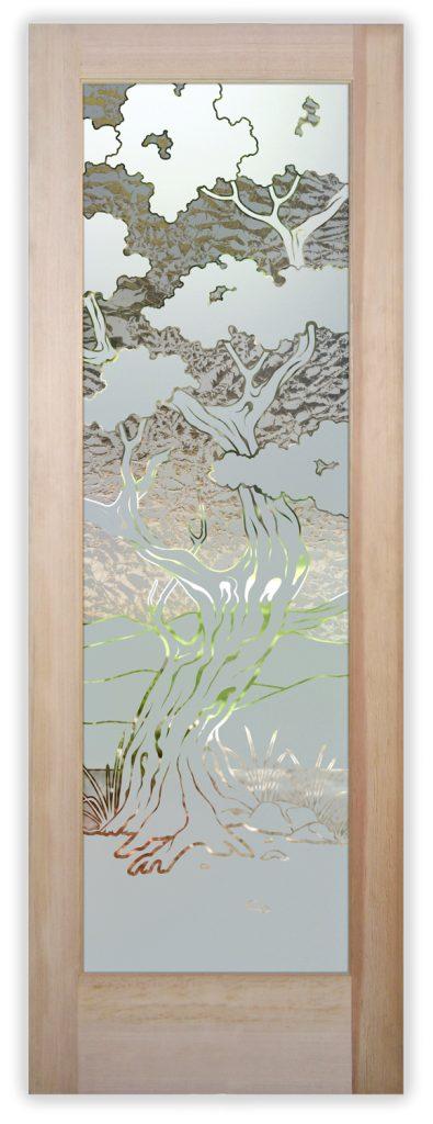 Bonsai 1D Gluechip Etched Glass Door