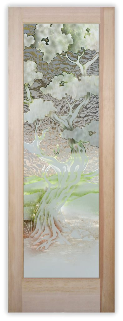 Bonsai 2D Gluechip Etched Glass Door