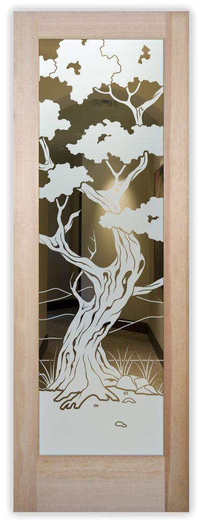 Bonsai 1D Positive Etched Glass Door