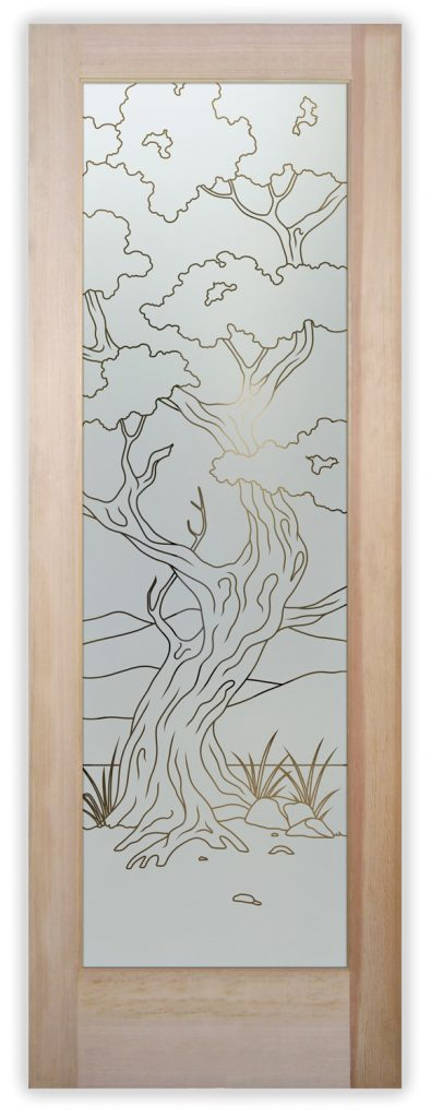 Bonsai 1D Pinstripe Etched Glass Door