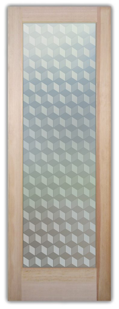 Illusion Cubes 1D Private Etched Glass Door