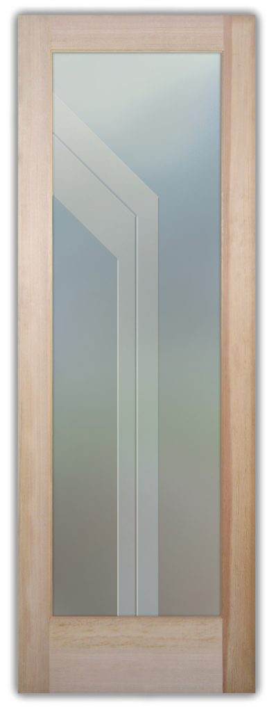 Angled Bands 3D Private Etched Glass Door