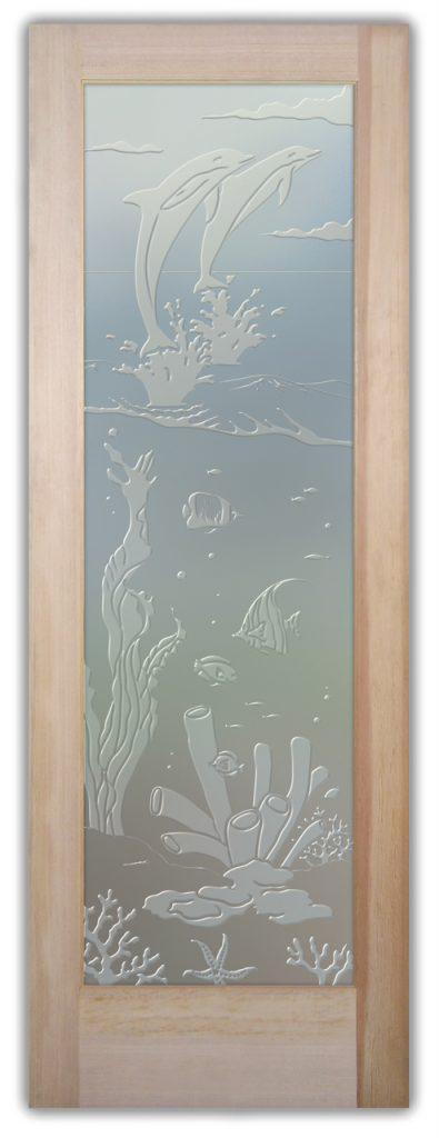 Aquarium Dolphins 3D Private Etched Glass Door