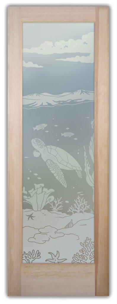 Aquarium Sea Turtle 1D Private Etched Glass Doors