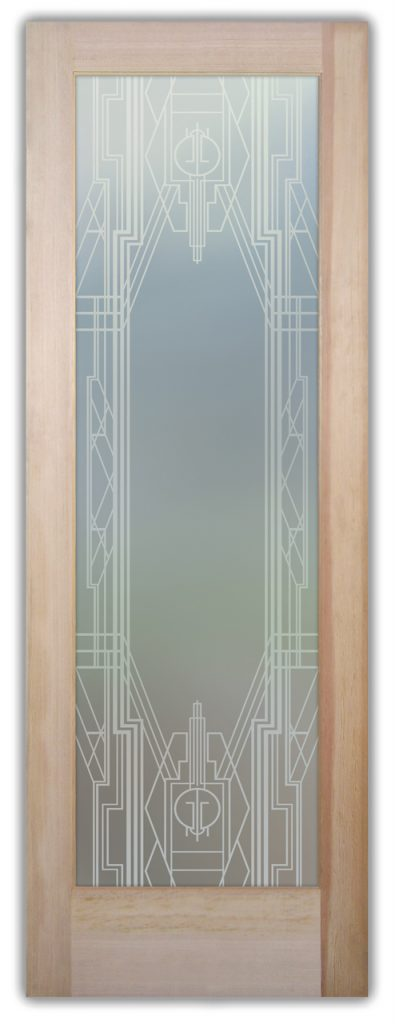 Art Deco Border 1D Private Etched Glass Doors