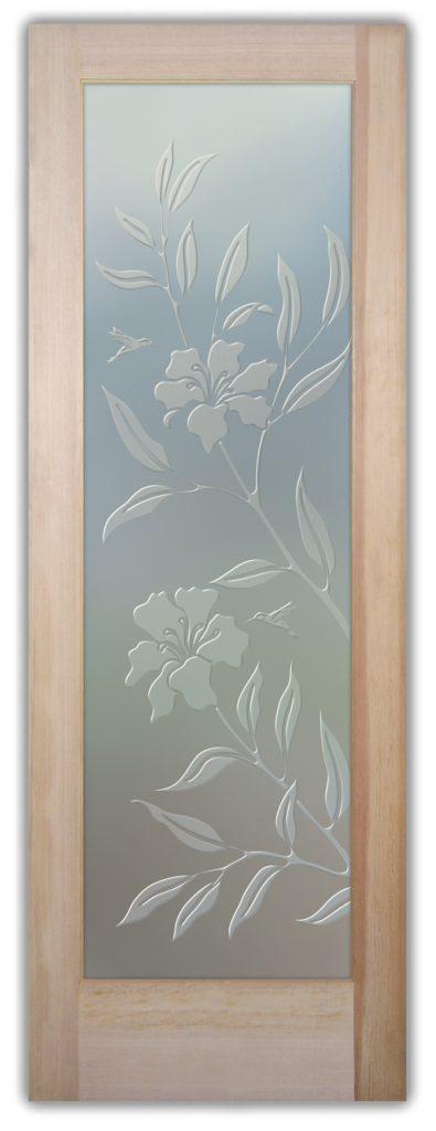Hibiscus Hummingbirds 3D Private Etched Glass Door