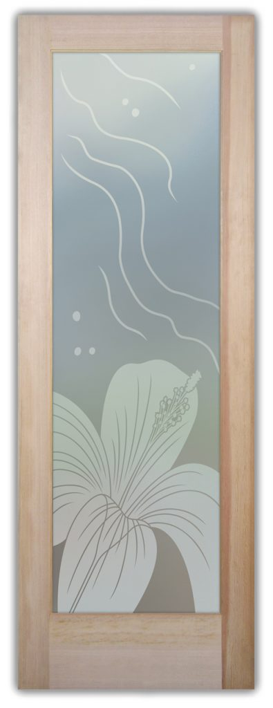 Hibiscus Ripples 1D Private Etched Glass Door