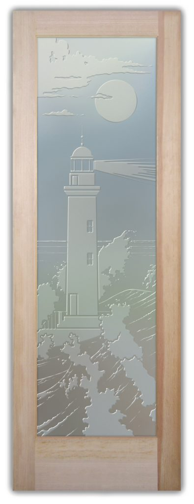 Lighthouse Beaming 3D Private Etched Glass Door