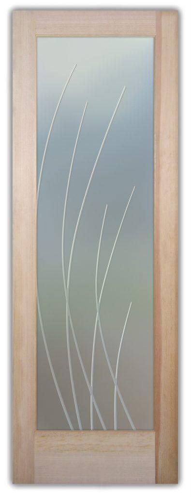 Sleek Arcs 3D Private Etched Glass Door