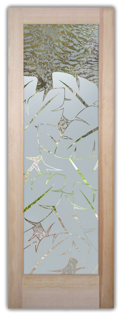 Banana Leaves 1D Gluechip Etched Glass Door