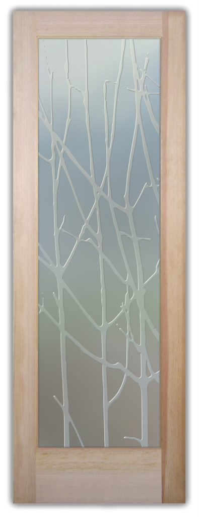 Bramble 3D Private Etched Glass Door