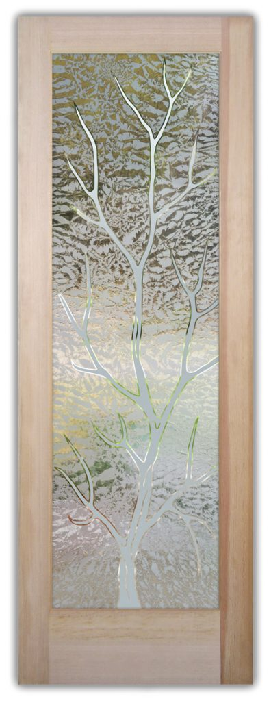 Branch Out 1D Gluechipped Etched Glass Door