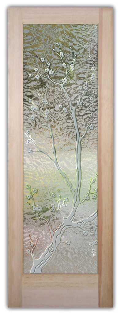 Cherry Blossom 3D Gluechip Etched Glass Door