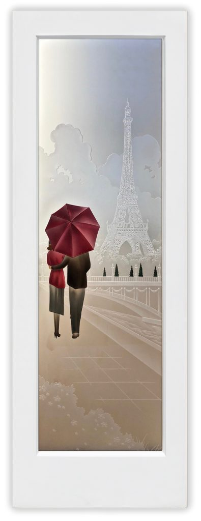 Paris 3D Enhanced Private Painted Etched Glass Door