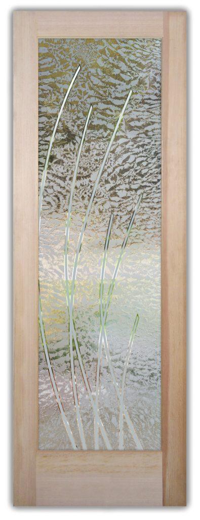 Sleek Arcs 1D Gluechip Etched Glass Door