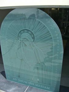 glass window custom glass portraiture our lady of lourdes sans soucie