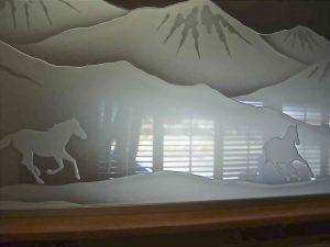 glass window custom glass western decor desert landscape horses galloping sans soucie