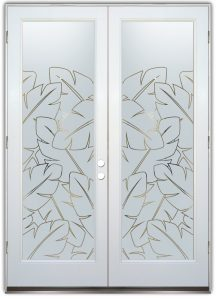 Double Entry Doors with Etched Glass African Decor Banana Leaves