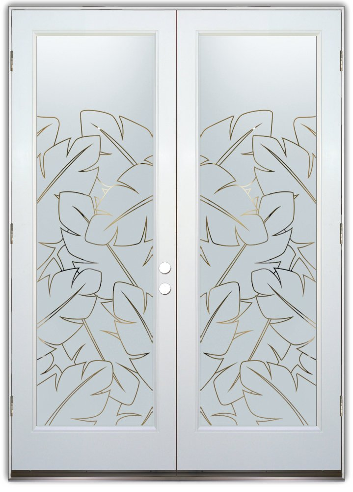 Banana Leaves Front Doors With Glass Etching African Decor