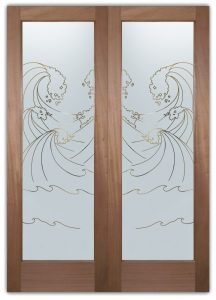High Seas Front Double Doors with Glass Etching Beach Design glass doors frosted glass ocean waves High Seas Door Pinstripe