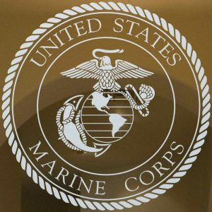 Sans Soucie Door Inserts with Etched Glass Marine Corp Seal