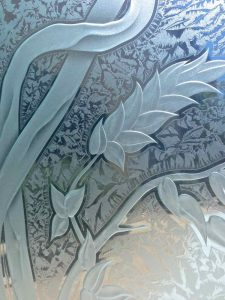 etched glass asian style leaves close up detailed view