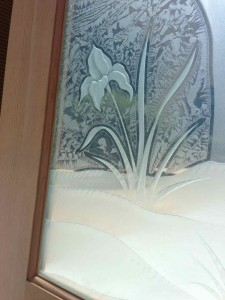 Sans Soucie Entry Door Inserts with Carved and Etched Glass