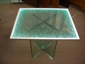 Dining Tables with Lit Edge and Shattered Glass by Sans Soucie