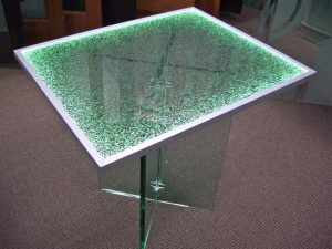 Sans Soucie Dining Tables with Shattered Glass Lit Edge