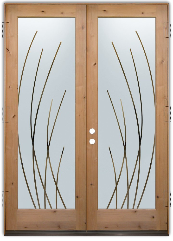 Modern front door designs - Sleek Arcs Negative Etched Glass Doors Modern Design