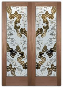double entry doors sandblasted glass rustic decor nature outdoors streams sans soucie