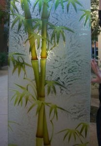 Painted Etched Glass Asian Decor Bamboo Shoots Foliage