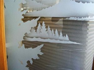 etched glass forest trees lake scene Lake Arrowhead
