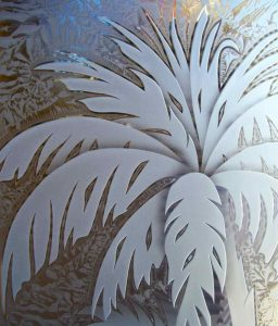 frosted glass tropical palm trees art glass