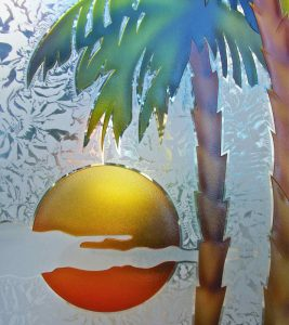 Painted Etched Glass Beach Decor Palm Trees Sunset Coastal Decor Tropical