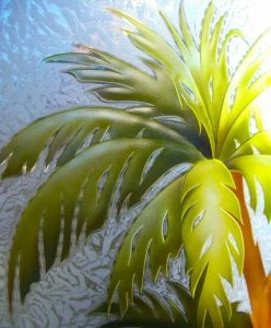 Carved Glass Beach Decor Palm Trees Sunset Coastal Decor Tropical