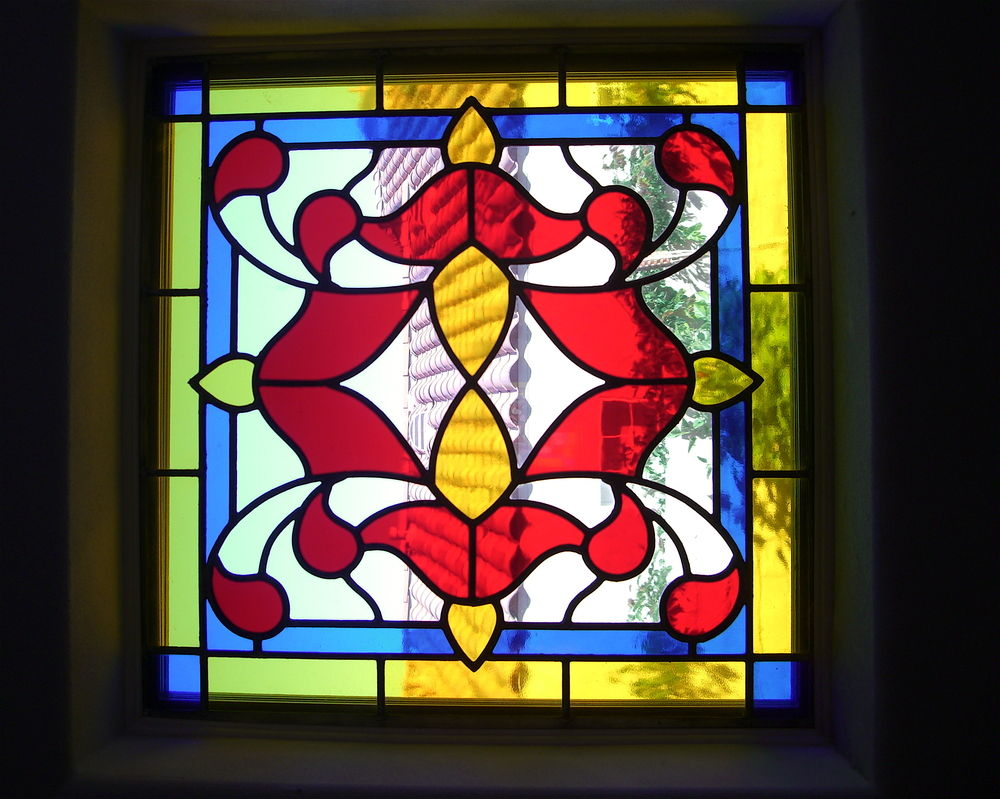 glass window Stained glass French design ornate flourishes alhambra ll sans soucie