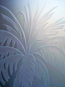 Carved Glass Beach Decor Palm Trees Sunset Coastal Tropical Decor