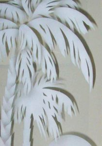 frosted glass tropical decor palm trees sunset scene