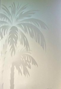Etched Glass Beach Decor Palm Trees Sunset Coastal Decor
