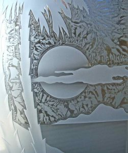 sandblasted glass etched glass beach decor sunset in cloud