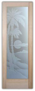 Glass Entry Doors Etched Glass Beach Decor Palm Trees Sunset Coastal Tropical Decor
