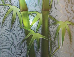 Etched Glass Asian Decor Bamboo Shoots Foliage