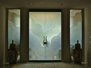 Entry Doors Frameless with Etched and Carved Glass Rustic Beach Coastal by Sans Soucie
