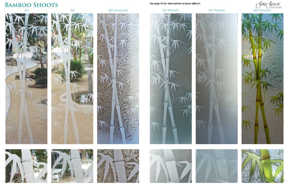 Bamboo Shoots Etched Glass Options Asian Decor Style