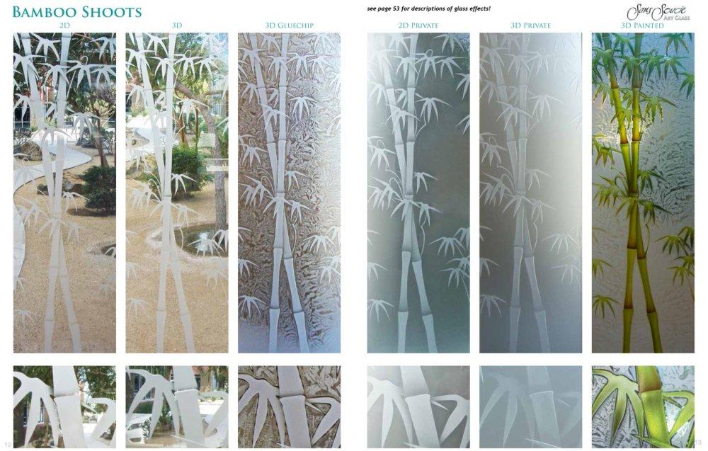 Etched Glass Asian Decor Style Bamboo Shoots Design Sans Soucie