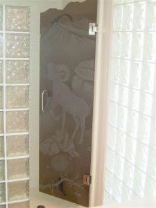 glass shower doors glass etching western design rams outdoors big horn sheep sans soucie