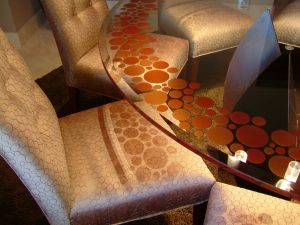 Glass Dining Tables with Carved and Painted Contemporary orange bubblies by Sans Soucie