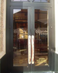 Sans Soucie Signs with Glass Etching Logos Cheesecake Factory